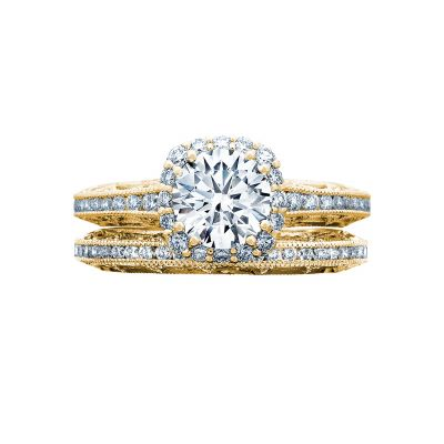 Tacori 2618CU65-Y Yellow Gold Round Unique Halo Engagement Ring set
