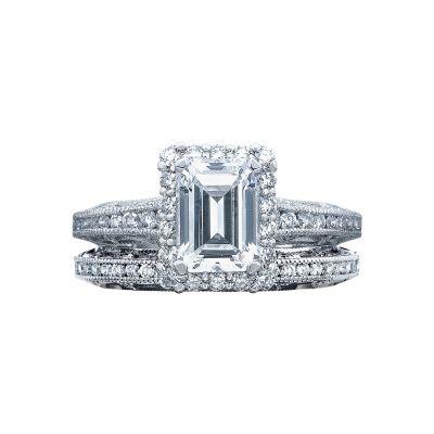 Tacori 2618EC White Gold Emerald Cut Unique Halo Engagement Ring set
