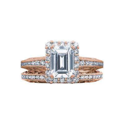 Tacori 2618EC75X55-PK Rose Gold Emerald Cut Classic Halo Engagement Ring set