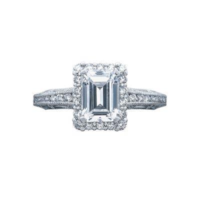 Tacori 2618EC75X55 Reverse Crescent Platinum Emerald Cut Engagement Ring