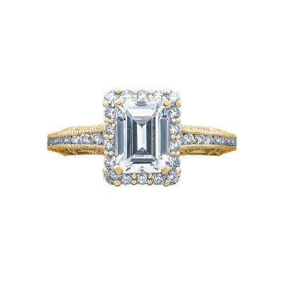 Tacori 2618EC75X55-Y Reverse Crescent Yellow Gold Emerald Cut Engagement Ring