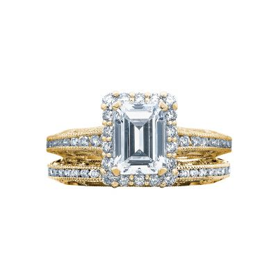 Tacori 2618EC75X55-Y Yellow Gold Emerald Cut Halo Engagement Ring set
