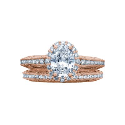 Tacori 2618OV75X55-PK Rose Gold Oval Classic Halo Engagement Ring set