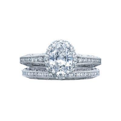 Tacori 2618OV75X55 Platinum Oval Halo Engagement Ring set
