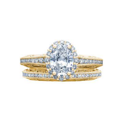Tacori 2618OV75X55-Y Yellow Gold Oval Vintage Halo Engagement Ring set