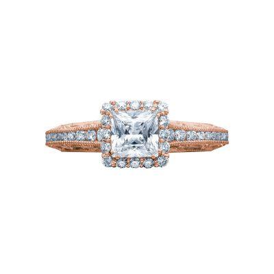 Tacori 2618PR5-PK Reverse Crescent Rose Gold Princess Cut Engagement Ring