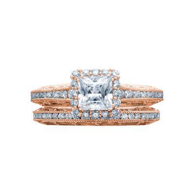 Tacori 2618PR5-PK Rose Gold Princess Cut Unique Halo Engagement Ring set