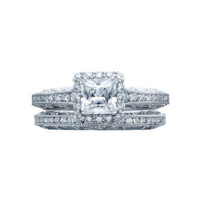 Tacori 2618PR5 Platinum Princess Cut Square Halo Engagement Ring set