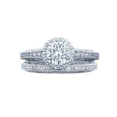 Tacori 2618RD White Gold Round Vintage Halo Engagement Ring set