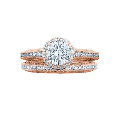 Tacori 2618RD6-PK Rose Gold Round Beautiful Halo Engagement Ring set