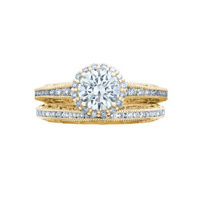 Tacori 2618RD6-Y Yellow Gold Round Vintage Halo Engagement Ring set