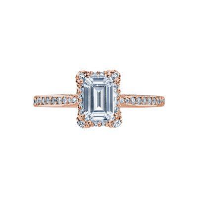 Tacori 2620ECSMP-PK Dantela Rose Gold Emerald Cut Engagement Ring