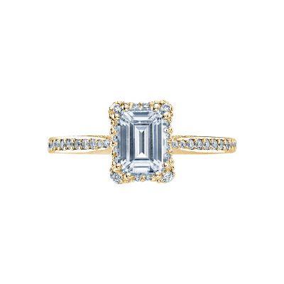Tacori 2620ECSMP-Y Dantela Yellow Gold Emerald Cut Engagement Ring