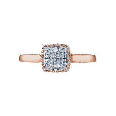 Tacori 2620PRLGPK Dantela Rose Gold Princess Cut Engagement Ring