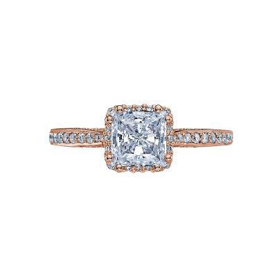 Tacori 2620PRMDP-PK Dantela Rose Gold Princess Cut Engagement Ring