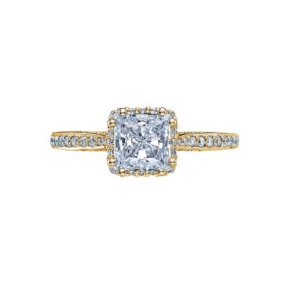 Tacori 2620PRMDP-Y Dantela Yellow Gold Princess Cut Engagement Ring