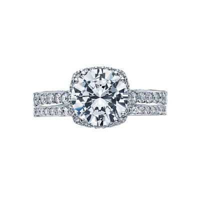 Tacori 2620RD White Gold Round Simple Halo Engagement Ring set