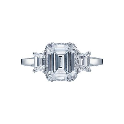Tacori 2621EC Dantela White Gold Emerald Cut Engagement Ring