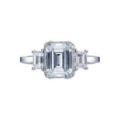 Tacori 2621ECLG Dantela Platinum Emerald Cut Engagement Ring