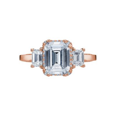Tacori 2621ECLG-PK Dantela Rose Gold Emerald Cut Engagement Ring
