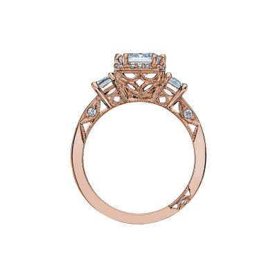 Tacori 2621ECLG-PK Rose Gold Emerald Cut Engagement Ring side