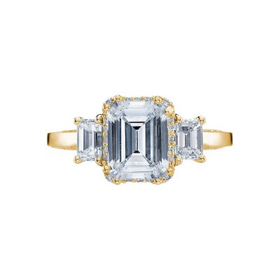 Tacori 2621ECLG-Y Dantela Yellow Gold Emerald Cut Engagement Ring