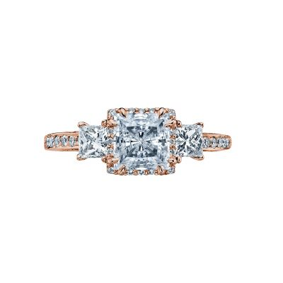 Tacori 2622PRMDP-PK Dantela Rose Gold Princess Cut Engagement Ring