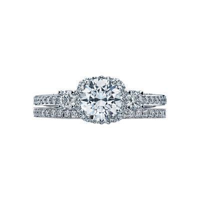 Tacori 2623RD White Gold Round Three Stone Engagement Ring set