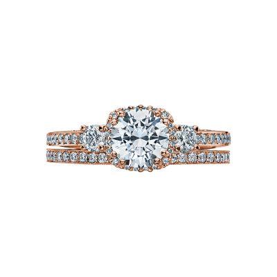 Tacori 2623RDSMP-PK Rose Gold Round Three Stone Engagement Ring set