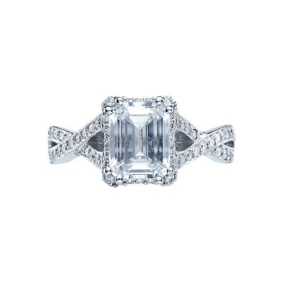 Tacori 2627ECLG Dantela Platinum Emerald Cut Engagement Ring