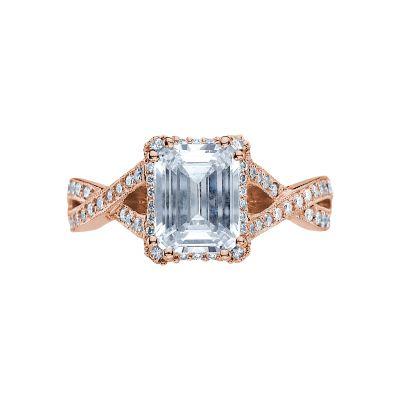 Tacori 2627ECLG-PK Dantela Rose Gold Emerald Cut Engagement Ring