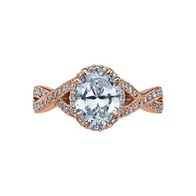 Tacori 2627OVLG-PK Dantela Rose Gold Oval Engagement Ring