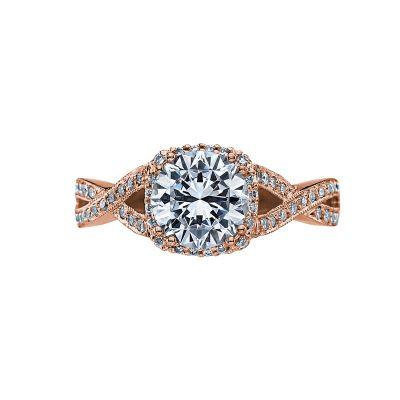 Tacori 2627RDMD-PK Dantela Rose Gold Round Engagement Ring