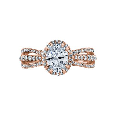 Tacori 2641OVP8X6-PK Dantela Rose Gold Oval Engagement Ring