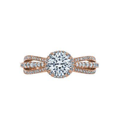 Tacori 2641RDP65-PK Dantela Rose Gold Round Engagement Ring
