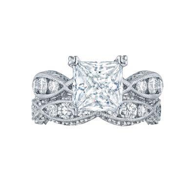 Tacori 2644PR White Gold Princess Cut Infinity Band Engagement Ring set