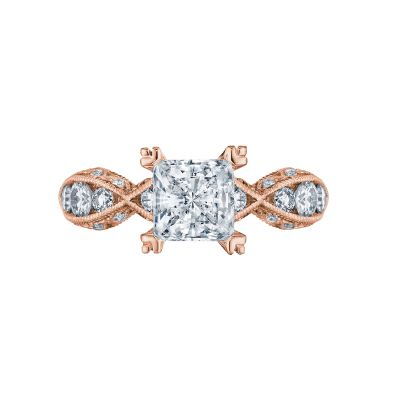 Tacori 2644PR6512-PK Classic Crescent Rose Gold Princess Cut Engagement Ring