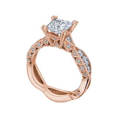 Tacori 2644PR6512-PK Rose Gold Princess Cut Twist Band Engagement Ring angle