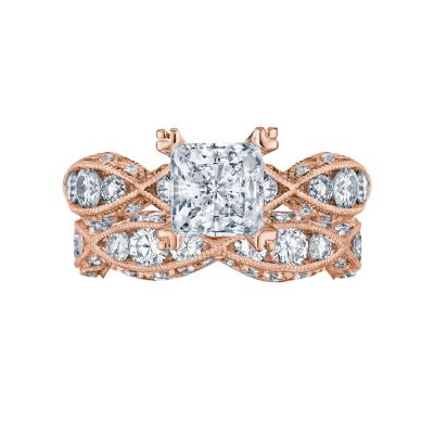 Tacori 2644PR6512-PK Rose Gold Princess Cut Twist Band Engagement Ring set