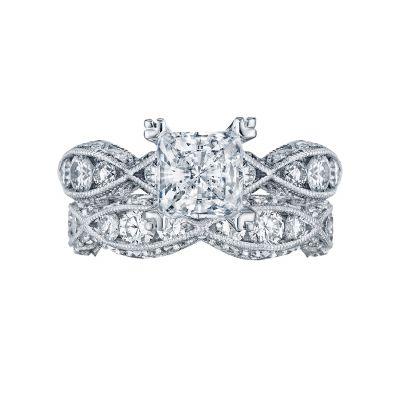 Tacori 2644PR6512 Platinum Princess Cut Twist Band Engagement Ring set