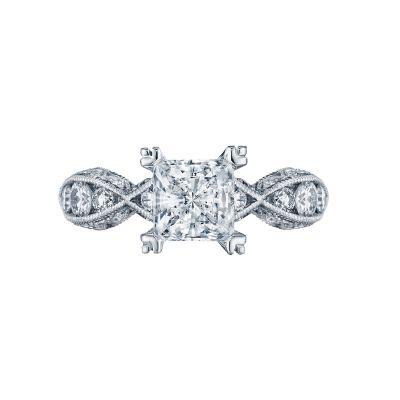Tacori 2644PR6512-W Classic Crescent White Gold Princess Cut Engagement Ring