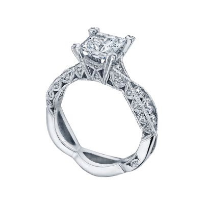 Tacori 2644PR6512-W White Gold Princess Cut Twist Shank Engagement Ring angle