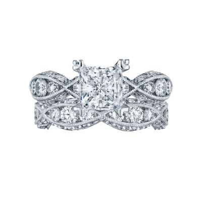 Tacori 2644PR6512-W White Gold Princess Cut Twist Shank Engagement Ring set