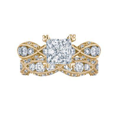 Tacori 2644PR6512-Y Yellow Gold Princess Cut Twist Shank Engagement Ring set