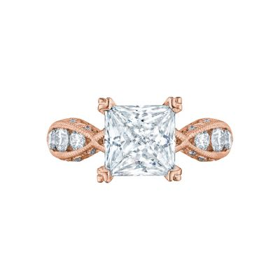 Tacori 2644PR834-PK Classic Crescent Rose Gold Princess Cut Engagement Ring