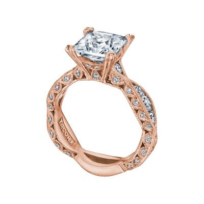 Tacori 2644PR834-PK Rose Gold Princess Cut Eternity Style Engagement Ring angle