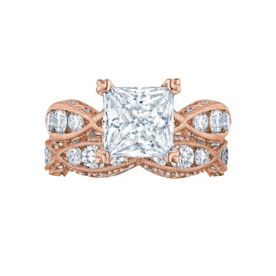 Tacori 2644PR834-PK Rose Gold Princess Cut Eternity Style Engagement Ring set
