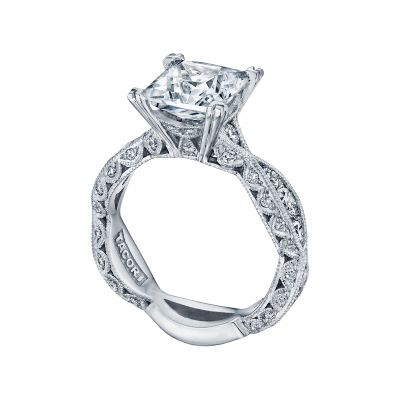 Tacori 2644PR834 Platinum Princess Cut Twist Band Engagement Ring angle