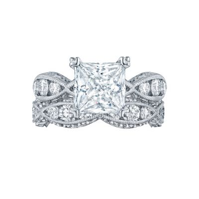 Tacori 2644PR834 Platinum Princess Cut Twist Band Engagement Ring set