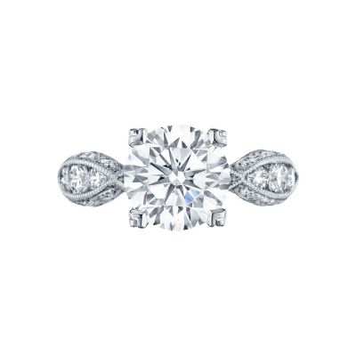 Tacori 2644RD Classic Crescent White Gold Round Engagement Ring